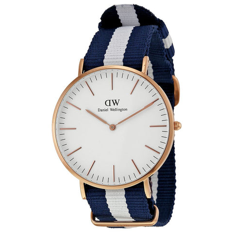 Daniel Wellington 0104DW Glasgow Quartz Analog Men's Watch, NATO Nylon Band, Rose Gold 40mm Case