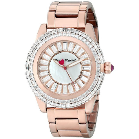 Betsey Johnson BJ00301-03 Women's Analog Display Quartz Watch, Rose Gold Stainless Steel Band, Round 41mm Case
