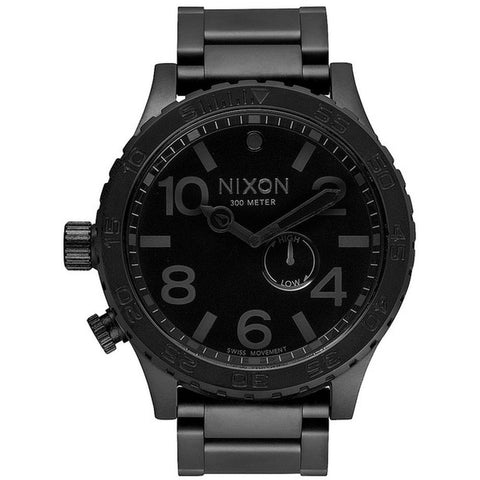Nixon Men's A057001 51-30 Tide All Black Analog Watch, Black Stainless Steel Band, Round 51mm Case