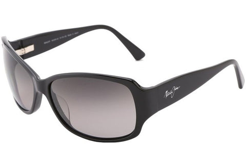 Maui Jim GS295-02 Nalani Sunglasses, Gloss Black Frame, Neutral Grey Polarized 61mm Lenses