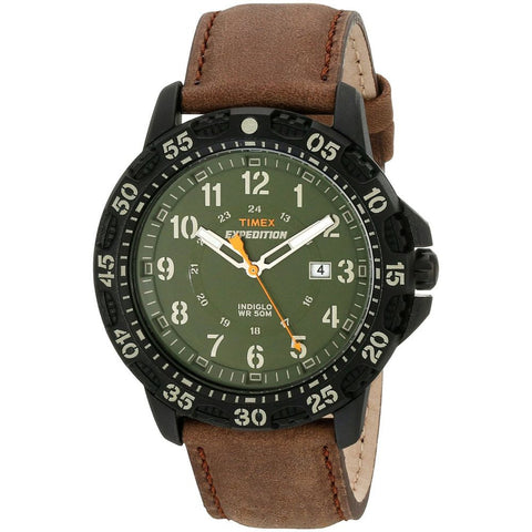Timex T499969J Expedition Rugged Resin Analog Display Watch, Brown Leather Band, Round 45mm Case