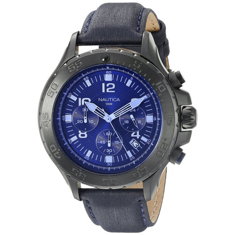 Nautica NAD21008G Men's Analog Display Quartz Watch, Blue Leather Band, Round 49mm Case