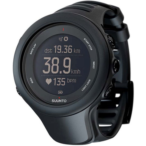 Suunto SS020681000 Ambit3 Sport Black Digital Display Quartz Watch, Black Elastomer Band, Round 50mm Case