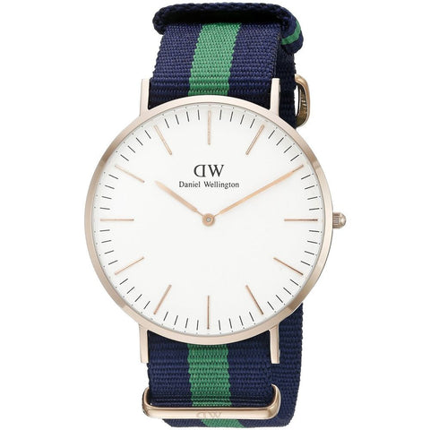 Daniel Wellington 0105DW Classic Warwick Analog Display Quartz Watch, Striped Nylon Band, Round 40mm Case
