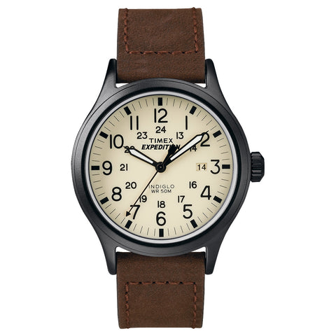 Timex T49963 Expedition Scout Analog Display Quartz Watch, Brown Leather Band, Round 40mm Case