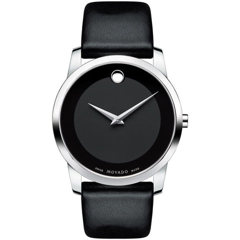 Movado 0606502 Museum Classic Analog Display Quartz Watch, Black Leather Band, Round 40mm Case