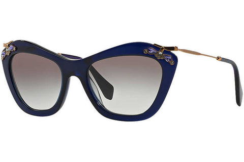 Miu Miu MU 03PS 0AX0A7 Sunglasses, Blue Frame, Gray Gradient 53mm Lenses