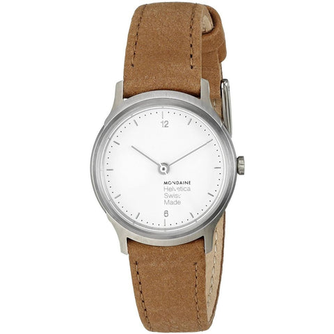 Mondaine MH1.L1110.LG Women's Helvetica No1 Light Analog Display Quartz Watch, Brown Leather Band, Round 26mm Case