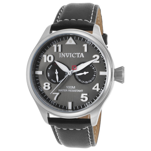 Invicta 18512 I-Force Men's Analog Display Quartz Watch, Black Leather Band, Round 45mm Case