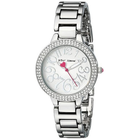 Betsey Johnson BJ00235-04 Women's Analog Display Quartz Watch, Silver Stainless Steel Band, Round 32mm Case