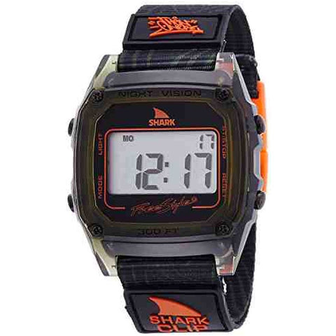 Freestyle Unisex 10019188 Shark Clip Green Digital Watch, Black Nylon Band, Square 38mm Case