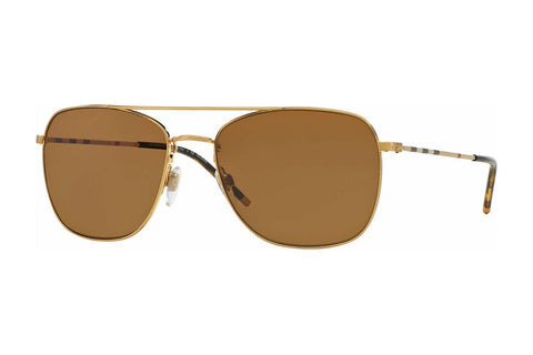 Burberry BE3079 105283 Square Unisex Sunglasses, Gold Frame, Brown Polarized 58mm Lens