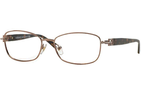 Versace VE 1226B 1013 Eyeglasses, Copper Brown Frame, Clear 52mm Lenses