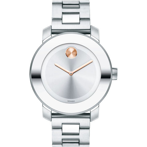 Movado 3600084 Bold Analog Display Quartz Watch, Silver Stainless Steel Band, Round 36mm Case