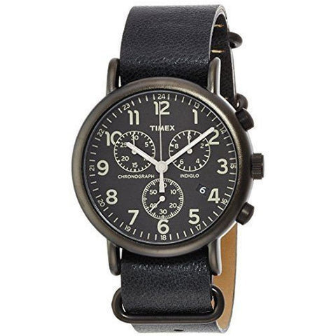Timex TW2P622009J Weekender Chrono Oversized Men's Analog Display Quartz Watch, Black Leather Band, Round 40mm Case