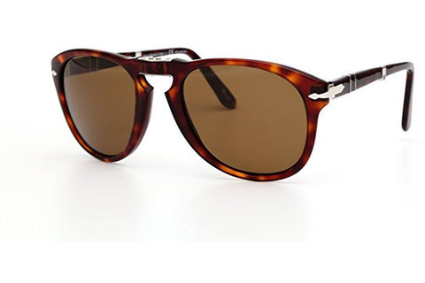 Persol PO0714 24/57 Icons Sunglasses, Folding Havana Frame, Polarized Crystal Polar Brown 54mm Lenses