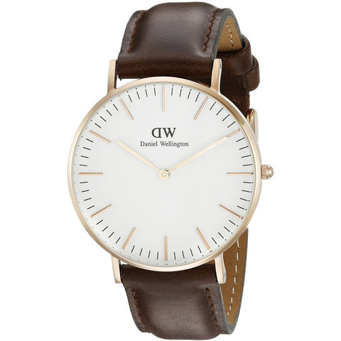 Daniel Wellington 0511DW Classic Bristol Analog Display Quartz Watch, Dark Brown Leather Band, Round 36mm Case