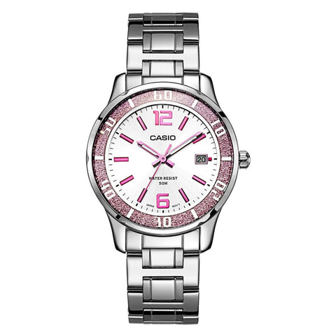 Casio LTP-1359D-4A Women's Analog Display Quartz Watch, Silver Stainless Steel Band, Round 37mm Case