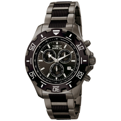 Invicta 6412 Specialty Men's Analog Display Quartz Watch, Black Stainless Steel Band, Round 46mm Case