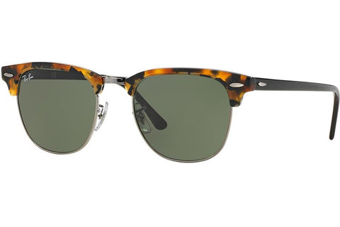 Ray-Ban RB3016-1157 Clubmaster Fleck Sunglasses, Tortoise/Black Frame, Green Non-Polarized 51mm Lenses