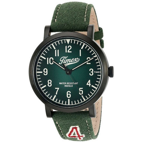 Timex TW2P83300ZA Originals University Men's Analog Display Quartz Watch, Green Leather Band, Round 42mm Case
