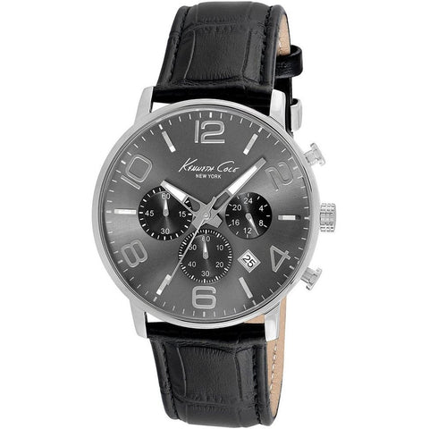 Kenneth Cole KC8007 Dress Sport Men's Analog Chronograph Watch, Black Leather Band, Round 42mm Case