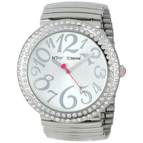 Betsey Johnson BJ00214-07 Analog Display Quartz Watch, Silver Stainless Steel Band, Round 48mm Case