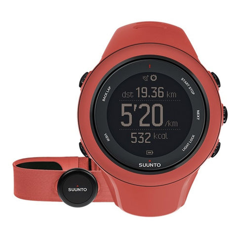 Suunto SS021469000 Ambit3 Sport (HR) Digital Display Quartz Unisex Watch, Coral Silicone Band, Round 50mm Case