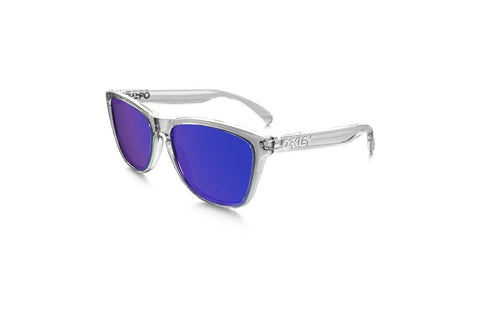 Oakley OO9013-24-305 Men's Frogskin Sunglasses, Polished Clear Frame, Violet Iridium 55mm Lenses