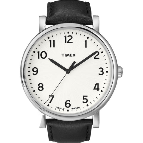 Timex T2N338 Originals Classic Round Analog Display Quartz Watch, Black Leather Band, Round 45mm Case