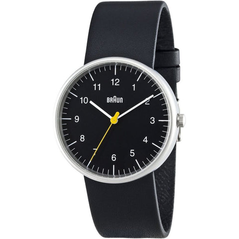 Braun BN0021BKBKG Men's Classic Analog Display Quartz Watch, Black Leather Band, Round 38mm Case