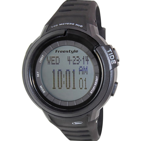 Freestyle Unisex 103001 Mariner Tide Black Digital Watch, Black Silicone Band, Round 46mm Case