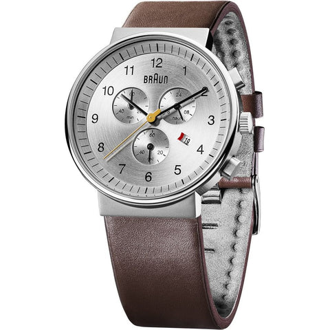 Braun BN0035SLBRG Men's Classic Analog Display Chronograph Quartz Watch, Brown Leather Band, Round 40mm Case