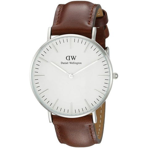 Daniel Wellington 0607DW St. Mawes Analog Display Quartz Watch, Brown Leather Band, Round 36mm Case