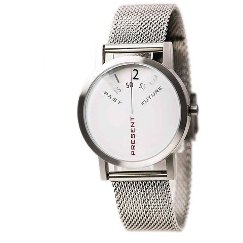 Projects 7214S Past, Present and Future Analog Display Quartz Watch, Silver Stainless Steel Mesh Band, Round 33mm Case