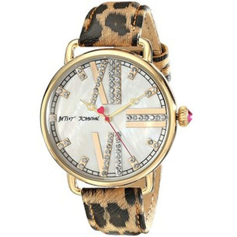Betsey Johnson BJ00212-11 Analog Display Quartz Watch, Multicolor Leather Band, Round 42mm Case
