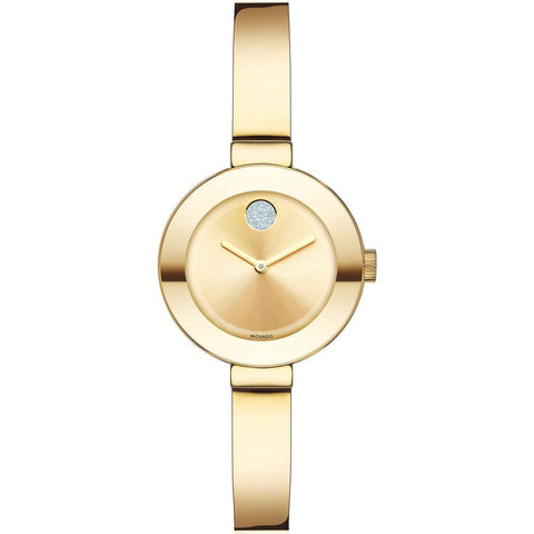 Movado 3600285 Bold Analog Display Quartz Watch, Yellow Gold Ion-Plated Stainless Steel Band, Round 25mm Case