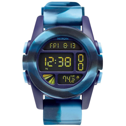 Nixon A1971726 Men's Unit Marbled Blue Digital Watch, Blue Silicone Band, Round 49mm Case
