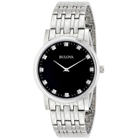 Bulova 96D106 Diamond Analog Display Quartz Watch, Silver Stainless Steel Band, Round 38mm Case