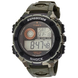 Timex T499819J Expedition Vibe Shock Digital Display Quartz Men's Watch, Green Resin Band, Round 50mm Case