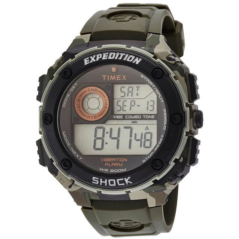 Timex T499819J Expedition Vibe Shock Digital Display Quartz Watch, Green Resin Band, Round 49mm Case