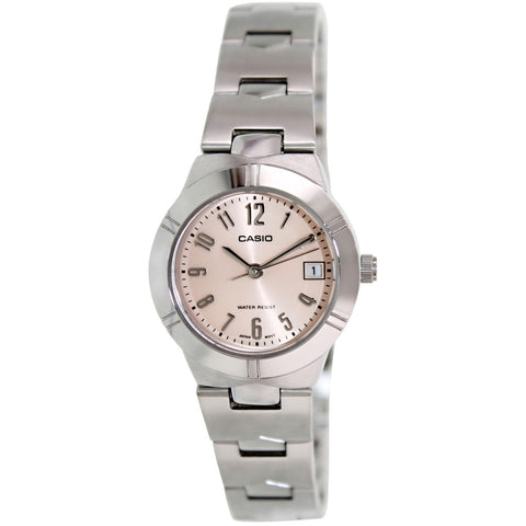 Casio LTP-1241D-4A3D Women's Analog Display Quartz Watch, Silver Stainless Steel Band, Round 25mm Case