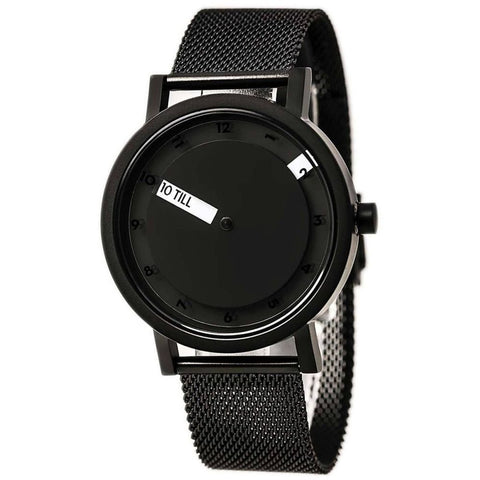 Projects 7215BM 'Till Watch Black Analog Display Quartz Watch, Black IP Stainless Steel Mesh Band, Round 40mm Case