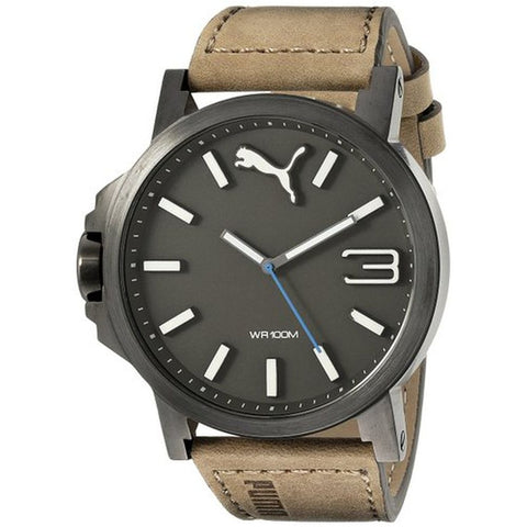 Puma PU103461017 Ultrasize Men's Analog Display Quartz Watch, Brown Leather Band, Round 50mm Case