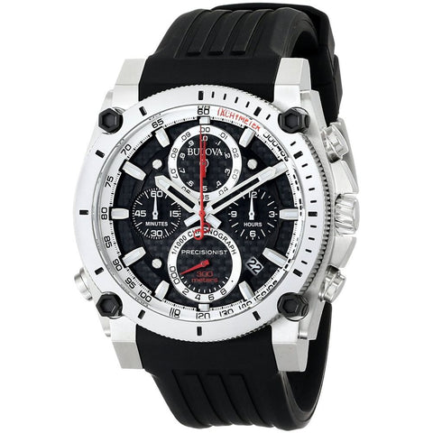 Bulova 98B172 Precisionist Chronograph Analog Display Watch, Black Rubber Band, Round 46.5mm Case