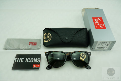 Ray-Ban RB2140 902 Original Wayfarer Classic Sunglasses, Tortoise Frame, Green Classic 54mm Lenses
