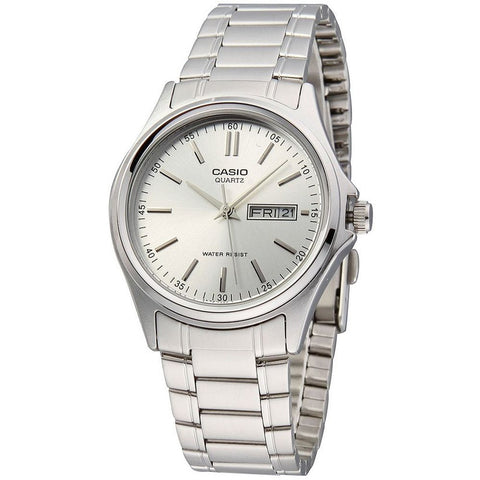 Casio MTP1239D-7A Men's Analog Display Quartz Watch, Silver Stainless Steel Band, Round 38.5mm Case