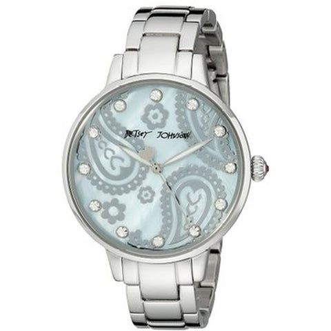 Betsey Johnson BJ00501-15 Analog Display Quartz Watch, Silver Stainless Steel Band, Round 38mm Case