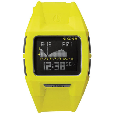 Nixon A2891262 Men's Lodown II Neon Yellow Digital Watch, Yellow Polyurethane Band, Square 43mm Case