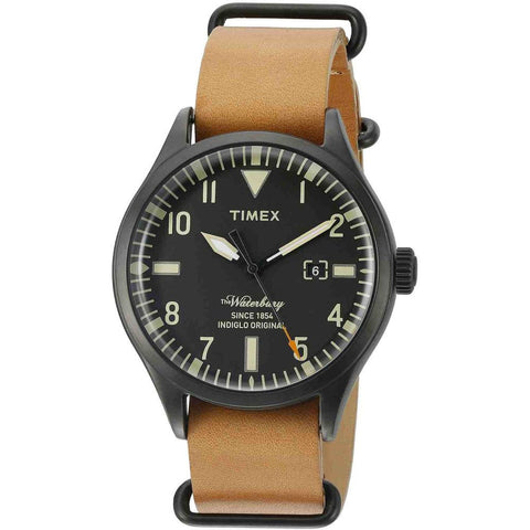 Timex TW2P64700 The Waterbury Analog Display Quartz Watch, Tan Leather Band, Round 40mm Case